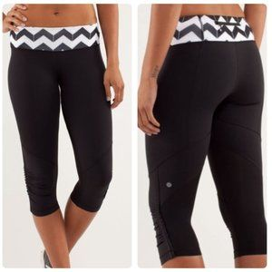 Lululemon Mesh Ruched Ruffle Workout Crop Leggings